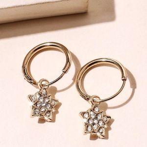2/$20! Gold Mini Hoops w/Crystal Stars Earrings